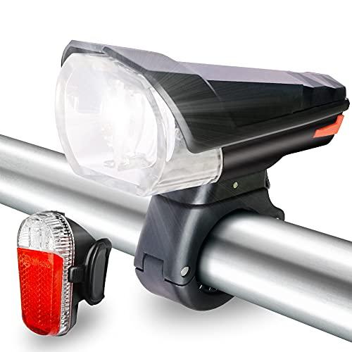 Fahrradlicht Set, Led Fahrradbeleuchtung Stvzo Zugelassen, Fahrradlampe USB Aufladbar IPX5 Wasserdicht & 3 Licht Modi Fahrrad Licht 280 Lux für Mountainbike und Rennra