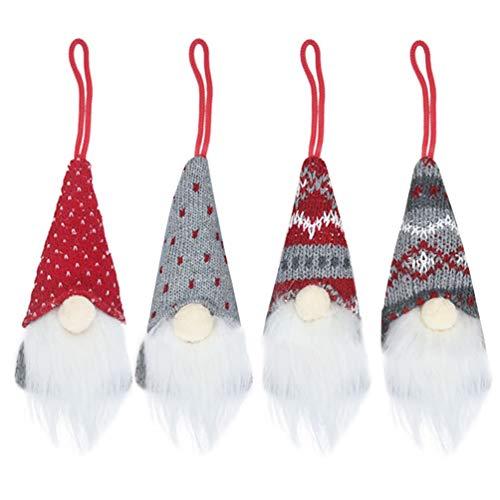 LUOEM 4Pcs Weihnachtsbaum Hängen Dekoration Weihnachten Hängen Dekorationen Gnom Hut Danke Geben Tag Geschenke Schwedische Gnome für Weihnachten Wohnzimmer Schlafzimmer (4 Muster)