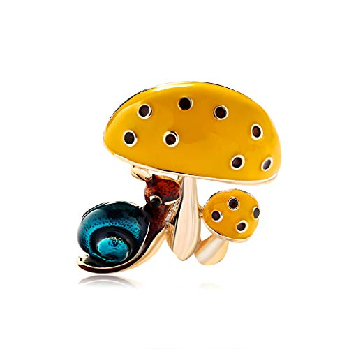 YAZILIND Cute Snails Insect Brooch Cute Mini Plant Mushroom Enamel Brooches Accessories Birthday Gifts Jewelry #1