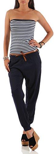 Malito Damen Einteiler gestreift | Overall mit Gürtel | Jumpsuit im Marine Look - Playsuit - Romper 9610 (dunkelblau)