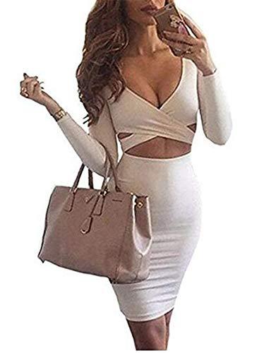 Merciy Sexy Fest V Ausschnitt Langarm Bodycon Kleid ,Figurbetontes Kleid Knielang (S, Weiß)