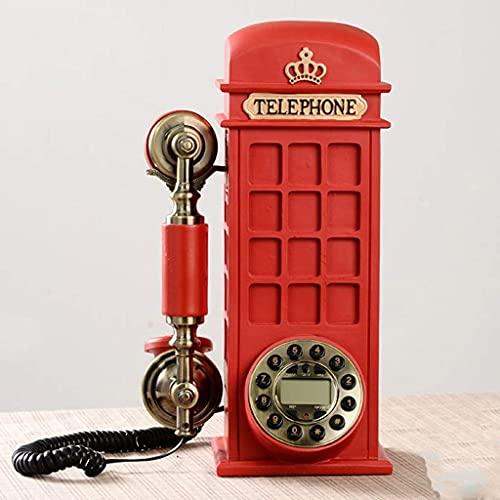 FHISD Cabina de teléfono Teléfono con Cable Teléfonos fijos Dos en uno con teléfono Teléfono Fijo montado en la Pared Teléfono del baño Teléfono Familiar Teléfono - Teléfonos Rojos