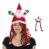 Bingxue Gorro de Navidad divertido con diseño de muñeco de nieve de Papá Noel, gorro de fiesta para niños, adultos, Navidad, Año Nuevo, día festivo, sombrero de Navidad, Papá Noel (35 x 66 cm)