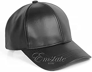 Emstate Genuine Cowhide Leather Adjustable Baseball Cap Made in USA