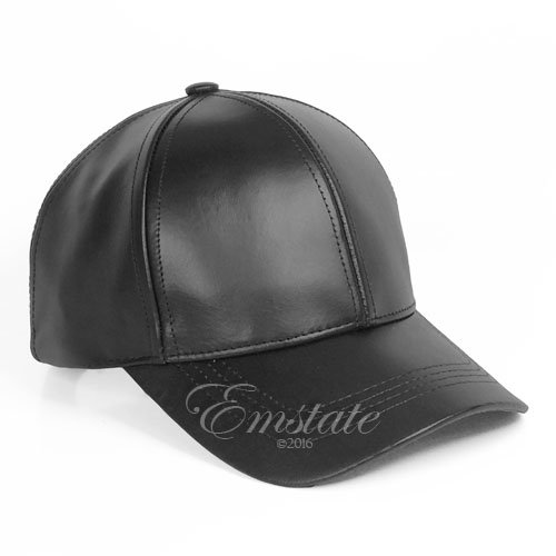 Emstate Cowhide Leather Unisex Adjustable Baseball Cap Made in USA (Black)