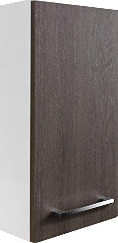 FACKELMANN Hängeschrank Rondo/Badschrank mit gedämpften Scharnieren/Maße (B x H x T): ca. 35 x 68 x 16 cm/hochwertiges Möbelstück/Türanschlag Links/Korpus: Weiß Glanz/Front: Eiche Cognac