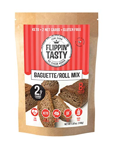 Keto Bread Roll & Baguette Mix by Flippin' Tasty   Only 2g Net Carbs per Serving   Gluten Free, Grain Free, Low Carb   No Sugar Added   Diabetic & Keto Friendly   Makes 5 Rolls or 1 Baguette   Quick & Easy Baking