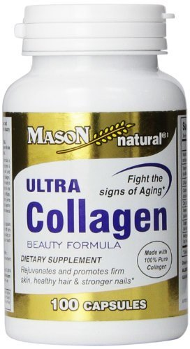 Mason Vitamins Ultra Collagen Beauty Formula Made with 100% Pure Collagen Capsules, 100-Count Bottle by Mason Vitamins