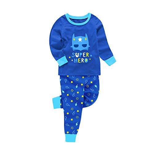 Children Boys Pajamas Set, Glow-in-The-Dark Space Cotton Pjs Sleepwear Set Toddler Kids Clothes (Blue Robot, 7)
