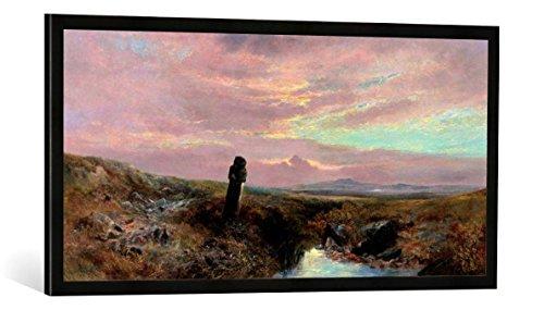Gerahmtes Bild von William Widgery A Dartmoor Stone Cross, Kunstdruck im hochwertigen handgefertigten Bilder-Rahmen, 100x50 cm, Schwarz matt