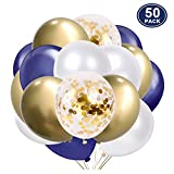 SKYIOL Globos Helio Azul Blanco Oro 50 Piezas 30 cm Metalizado Confeti Globo para Niños Unisex Decoración de Fiesta Celebración Cumpleaños Boda Bebé Bautizo Día de San Valentín Navidad, Set 4