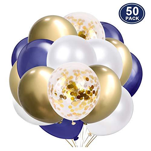 SKYIOL Luftballons Blau Weiß Gold Helium Ballons 30 cm Metallic Konfetti Latex Luftballon als Party Feier Dekoration für Kinder Junge Geburtstag Hochzeit Baby-Shower Jubiläum Abschluss
