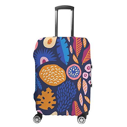 Chehong Koffer-Abdeckung für Gepäck, blaues Obstpflanzen-Muster, Reisetrolley, schützend, waschbar, Polyesterfaser, elastisch, staubdicht, passend für 45,7–81,3 cm