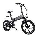 Liu Yu·casa creativa Bicicleta eléctrica Plegable de 20 Pulgadas Neumático de 20 Pulgadas 350W 10AH EBIKE Folding Ciudad eléctrica Bicicleta 30km / h (Color : Negro, tamaño : 165-180CM)