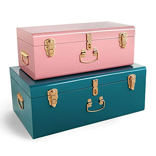 Beautify Storage Trunks Set of 2 Metal Storage Chests Stackable Suitcase Style For Bedroom, Living Room, Dressing Room, Hallway - Teal & Pink Steel with Rose Gold Hardware