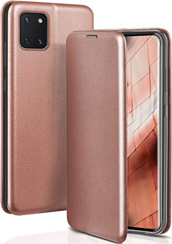 ONEFLOW Handyhülle kompatibel mit Samsung Galaxy Note10 Lite - Hülle klappbar, Handytasche mit Kartenfach, Flip Hülle Call Funktion, Klapphülle in Leder Optik, Rosegold