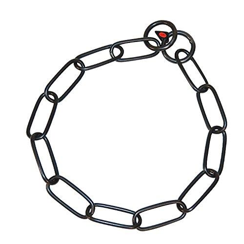 Sprenger Kettenhalsband Langgliedkette mit 2 Ringen Edelstahl geschwärzt 4 mm für Hunde bis 85 kg (59 cm)