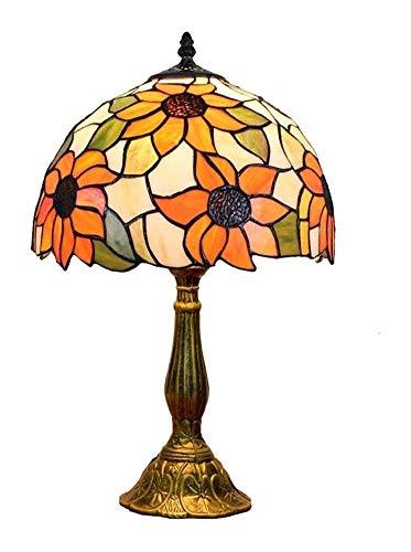 ZWH-Lámparas de Mesa Vintage Girasol Tiffany Lámpara de Mesa del vitral Decorativo Escritorio de luz 30 * 49cm