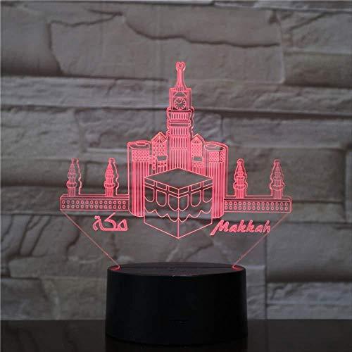 Luces de juego Regalos de Navidad Luz de noche Mezquita de La Meca Makka USB 3D Luz de noche LED Veilleuse Lámpara Decoración RGB Regalo de niños Edificios para bebés Famoso Lámpara de mesa Cabec