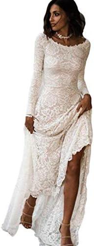 WZW Vintage A line Lace Wedding Dress with Long Sleeves Boho Wedding Dress Low Back Bohemian product image