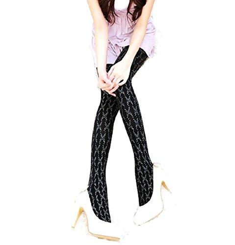 Zwart Ondoorzichtig Glitter Vlinder Patroon Mode Panty's