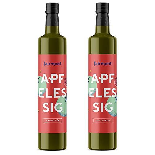 Fairment Apfelessig - bio, naturtrüb, mit der Essig-Mutter, unpasteurisiert, lebendig und ungefiltert - Apple Cider Vinegar aus deutscher Produktion (1 l (2er Pack))