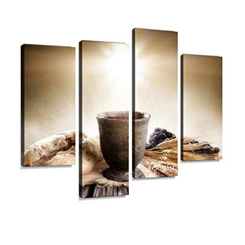 IGOONE 4 Panels Canvas Paintings - Communion unleavened Bread Chalice of Wine loafs and Pictures - Wall Art Modern Posters Framed Ready to Hang for Home Wall Decor