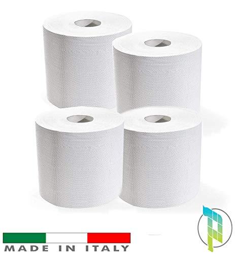 Palucart Kit 4 Bobine di Carta rotoloni industriali Asciugamani Pura cellulosa Bobina asciugatutto