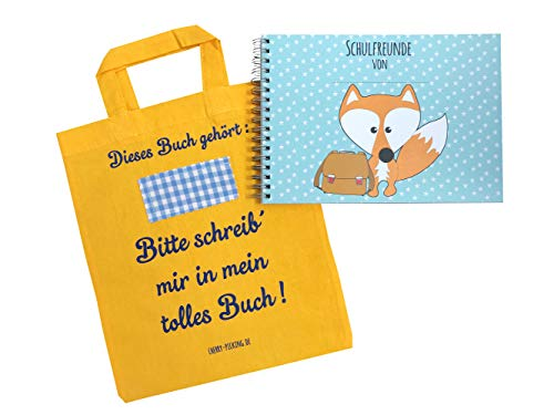 Cherry Picking Freundebuch Schule Schulfreunde Einschulung Schulkind Grundschule Poesiealbum Schulfreundebuch mit Tasche GELB