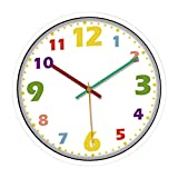 Non-brand Reloj de Pared Silencioso Sin Tictac para Niños, Tiempo para Enseñar, 12 Pulgadas, Colorido, Decorativo, Funciona con Pilas, Fácil de Leer, Dormitorio - Marco Blanco, Individual