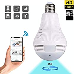 Dekugaa Light Bulb Camera, HD 1080P-WiFi 360°2.4GHz Wireless Security IP Panoramic Dome Camera, with Infrared Motion Detection, Night Vision, Alarm, Suitable for Baby, Office, Pet Monitor