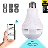 Dekugaa Light Bulb Camera, Include 16GB Card HD 1080P-WiFi 360°2.4GHz Wireless Security IP Panoramic Dome Camera, with Night Vision, Alarm, Suitable for Baby, Office, Pet Monitor