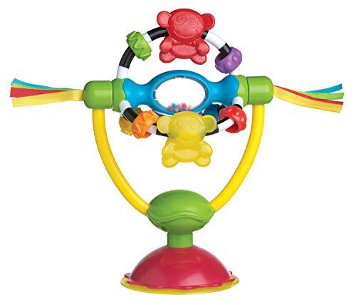 Playgro Drehrassel mit Saugfuß, Für Tische und Hochstühle, BPA-frei, Ab 6 Monaten, High Chair Spinning Toy, Gelb/Rot, 40121