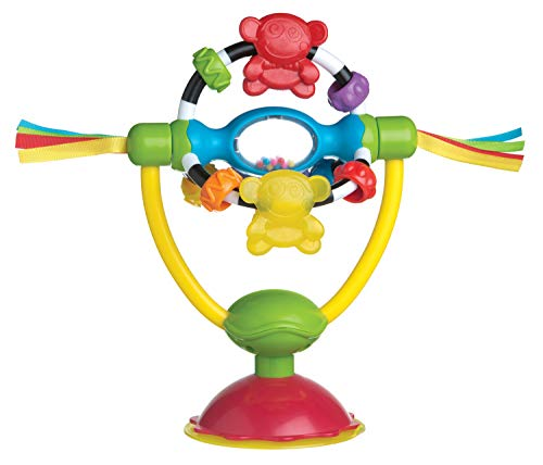 Playgro Sonajero Ventosa, Para Mesas y Tronas, Sin BPA, Desde los 6 Meses, High Chair Spinning Toy, Amarillo/Rojo, 40121