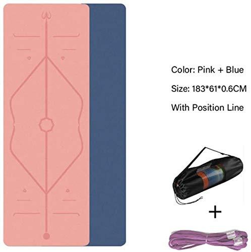 QZ 147258 TPE stuoia di Yoga Linea Postura 6 Millimetri Ecologico Tappetino Antiscivolo stuoia di Forma Fisica di Yoga Pilates e Ginnastica (Color : Pink Blue, Size : 183x61x0.6CM)