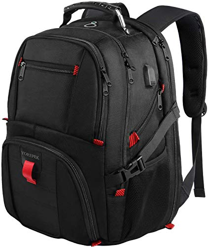 18.4 Laptop Backpack,Large Computer Backpacks Fit Most 18 Inch Laptop with USB Charger Port,TSA Friendly Flight Approved Weekend Carry on Backpack with Luggage Strap for Men and Women,Black