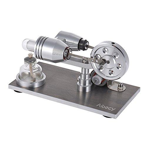 Aibecy Mini-Stirling-Motor, Warmluftbetrieb, elektrisch, mit LED-Licht, Lernspielzeug für Physik-Experimente