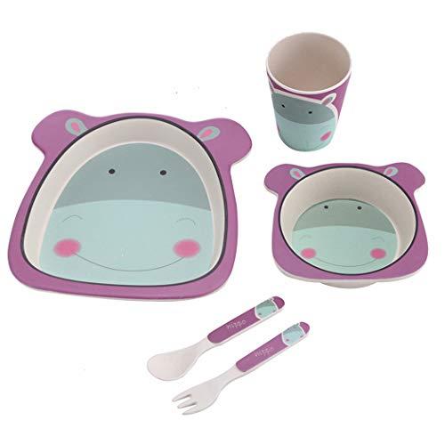 ZT Set vajilla Infantil de bambú sin BPA, 5 Piezas, Servicio de Mesa cubertería para niños Vaso de Beber Plato para niños, Ecológico y Biodegradable. (hipopotamo)