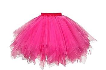 GOOBGS Musever 1950s Vintage Ballet Bubble Skirt Tulle Petticoat Puffy Tutu Fuchsia Large/X-Large