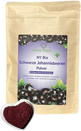 More Years® für DICH! Bio Schwarze Johannisbeeren Pulver + Johannisbeerpulver aus der ganzen Beere + nachhaltig + gefriergetrocknet + ohne Zusätze + 200g + Baum gepflanzt