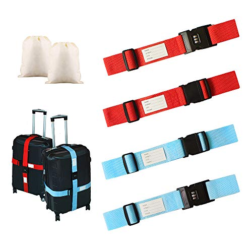 4 Pack Adjustable Luggage Straps,Heavy Duty Luggage Straps for Suitcases with Password Lock/Name Tag Slot+ 2 Storage Bag for Identifying and Saving Luggage, 2 Color
