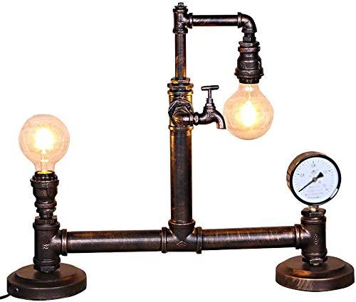 Bedlampjes Vintage Bureaulamp, Industrieel Retro Steampunk Double Head Water Pipe Table Light, met klok, 26.3Lengte creatieve nachtlampje