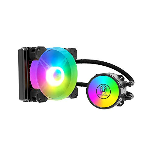 Docooler 120 Enfriador de Agua para PC con Ventilador silencioso RGB de 120 mm, CPU, radiador líquido para LGA775 / 115X / AM4 / AM3 / FM2