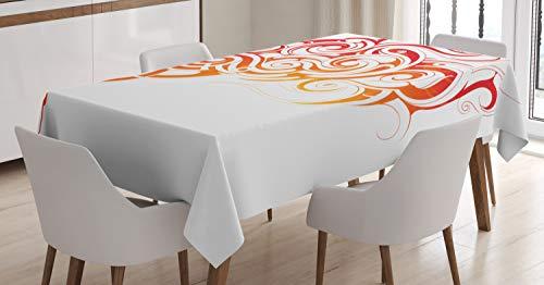 ABAKUHAUS Rauch Tischdecke, Orange-Töne Abstrakt Curls, Für den Inn & Outdoor Bereich geeignet Waschbar Druck Klar Kein Verblassen, 140 x 240 cm, Vermilion & orange