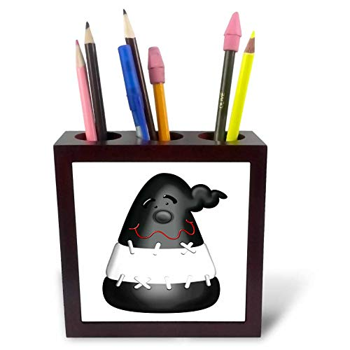 3dRose Black and White Frankenstein Halloween Candy Illustration - Tile Pen Holders (ph_327362_1)