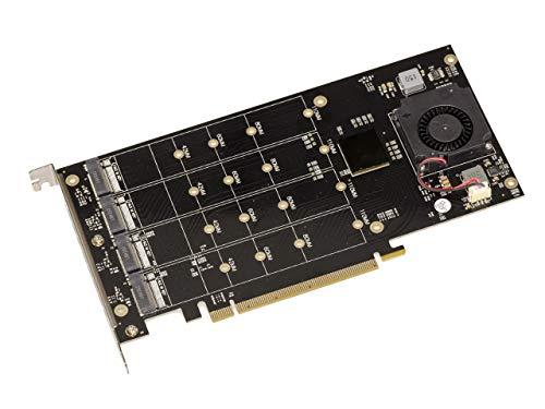 PCIe 3.0 Controller-Karte 16 x für 4 SSD M.2 NVMe M Key (M2 NGFF), Chipsatz PLX8747, Bandbreite 128 GB, max. 16000 MB/s.