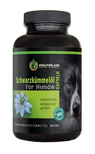 Kräuterland - Schwarzkümmelöl Kapseln für Hunde 300 Stück - zum Einführungspreis - 100{570fc85fc52c742619fe065b37ad19ef8a67f45cd2de4d1420a899d0ef7d45b6} rein, gefiltert, kaltgepresst, ohne Zusätze - direkt vom Hersteller - tägliche Futterergänzung für Hund
