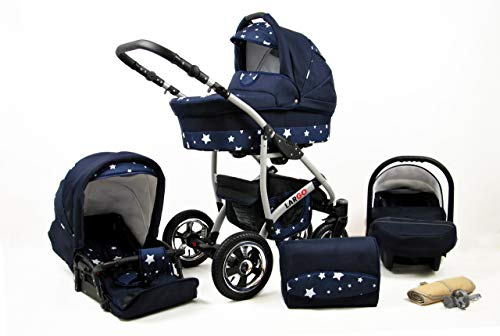 Kinderwagen Largo,3 in 1 -Set Wanne Buggy Babyschale Autositz mit Zubehör Navy Blue Star