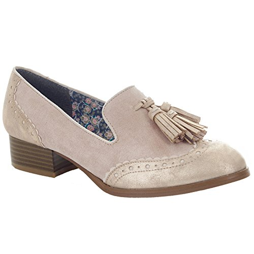LADIES RUBY SHOO TARA CHAMPAGNE BROGUE SLIP ON VEGAN FRIENDLY SHOES-UK 9 (EU 42)