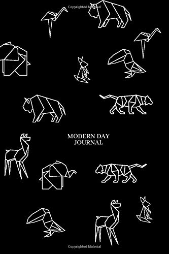 """MODERN NOTEBOOK: 155 Blank Lined Pages • Origami Animals 